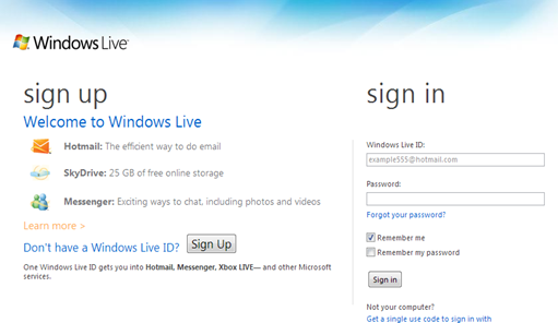 Windows Live ID - sign in screen