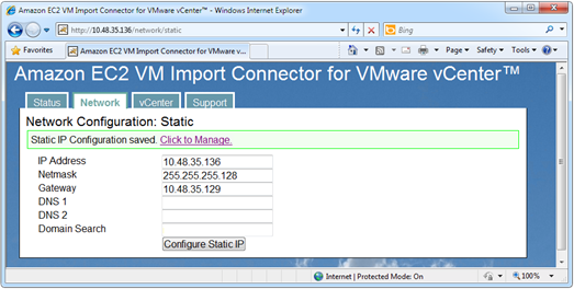Amazon EC2 VM Import Connector for VMware vCenter network configuration - static IP configuration successful