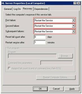 Aladdin monitor: setting the HL-Service to restart automatically