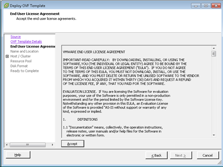 Deploy OVF Template - EULA