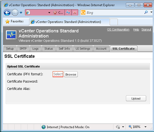 vCenter Operations - SSL Certificate tab