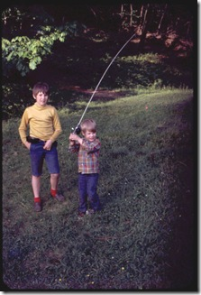 Fishing  with his brother