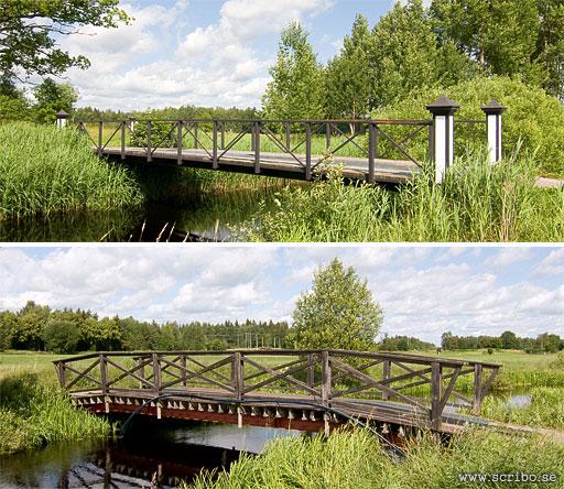 Två broar över fyrisån vid Salsta golfbana