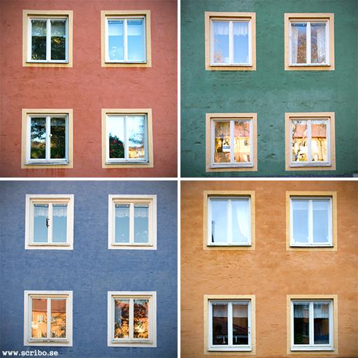 De olika färgerna på husen vid Lassebgärde. Röd grön blå gul.