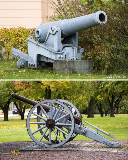 Kanoner utanför de gamla regementsbyggnaderna i Uppsala