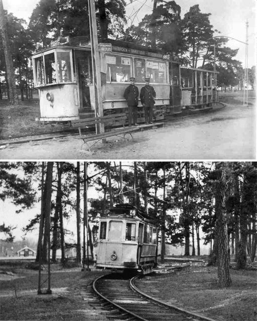 Två gamla bilder på spårvagnar vid 4:ans ändhållsplats, Polacksbacken