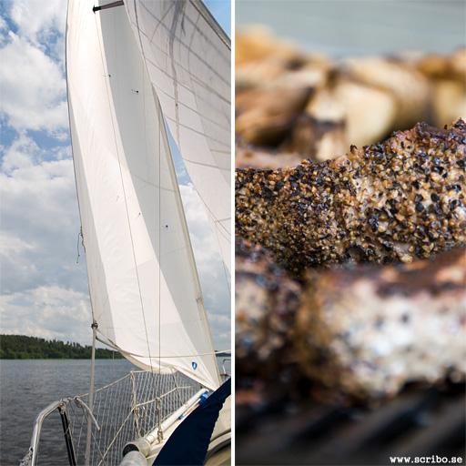 Två bilder, segling och grillning