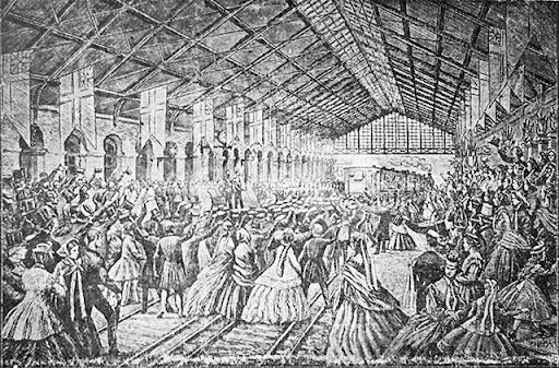 Teckning, invigningen av Uppsala centralstation den 19 september 1866