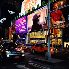 New York Streets at Night by Ferdinand Ludo - City,  Street & Park  Street Scenes ( downtown manhattan, beautiful lights., cars, people, night scenes )