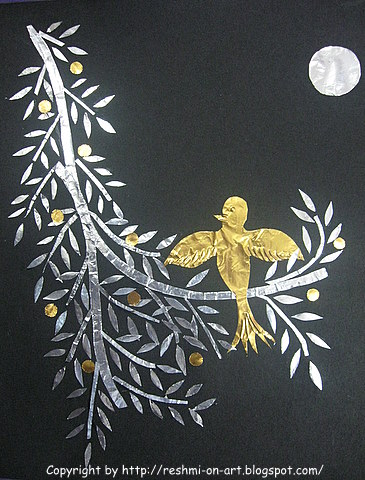Craft Ideas   Wood on Paper Foil Craft   The Golden Nightingale   Calligraphy   Art