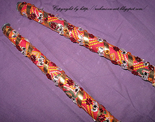 Dandiya-Stick-Decoration-Bandhani-Cloth