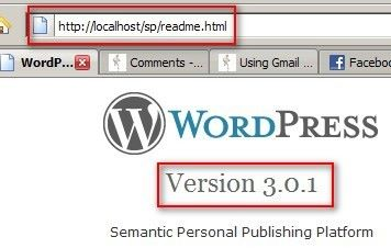 WordPress installation with default readme file