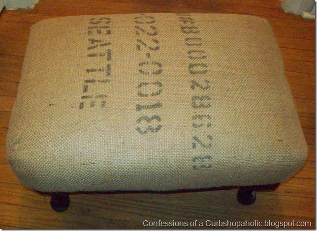 burlap covered ottoman 002