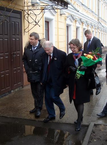 Игорь Слюняев (губернатор Костромской области), Сергей Миронов (председатель Совета Федерации РФ) и Ольга Зиновьева (главный редактор журнала