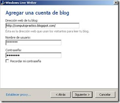 windows live writter cuenta de blog