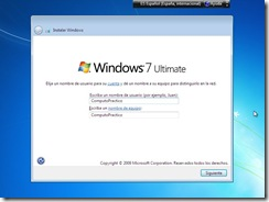 11 - Eleccion de nombre de usuario Instalacion de Windows 7