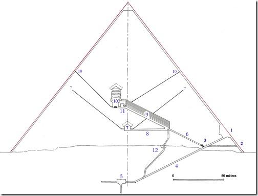 przekrój piramidy cheopsa