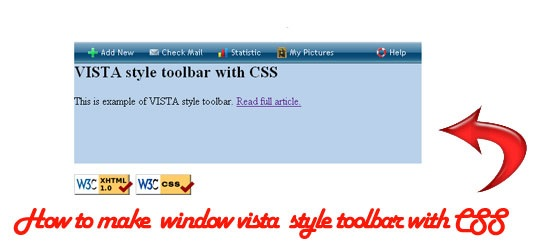 VISTA style toolbar with CSS