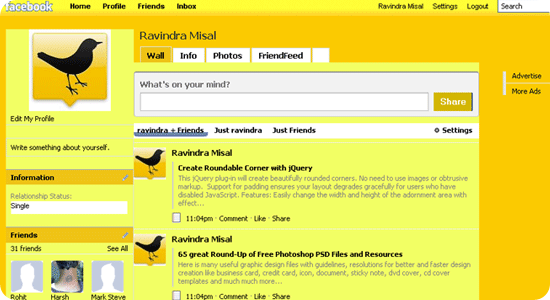 Yellow-facebook-theme