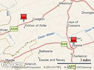 A map showing the location of Airlie and Glamis in Angus (Forfarshire).