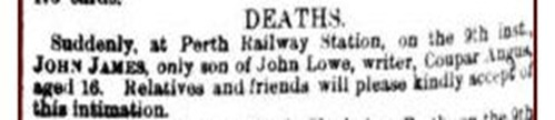 John James Lowe, 1867 death announcement