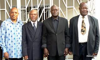 Des ténors de l'opposition congolaise. De gauche à droite: François Mwamba du MLC, Arthur Z'ahidi Ngoma des Forces du futur, Jean-Claude Vuemba du MPCR et Christian Badibangi de l'opposition extraparlementaire.
