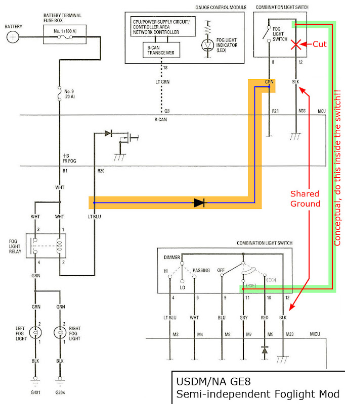 manual fog light operation page 3 unofficial honda fit forums here s the wiring diagram so you get an idea of what s going on the orange highlighted is roger s fit portion the green highlighted is what you need to do