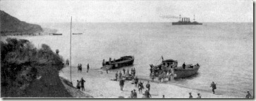 Anzac_Cove_and_HMS_Bacchante_25_April_1915