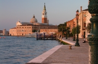 Sunrise over San Giorgio Maggiore Church in Venice Italy. Example of warmer, directional morning light