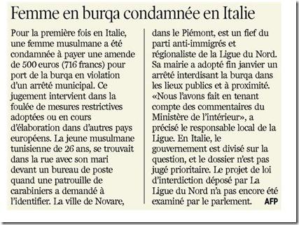italie femme burqa condamnée