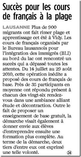 succès cours français plage lausanne