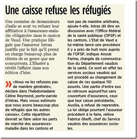 Une caisse refuse les réfugiés