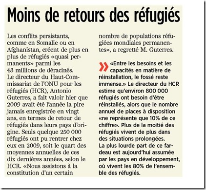 moins de retour de réfugiés