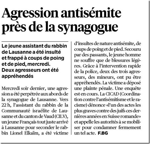 agression antisémite lausanne