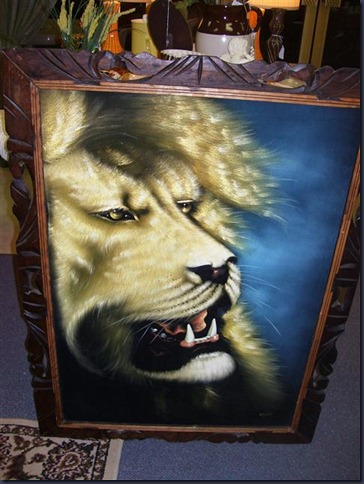 Lion painting on velvet