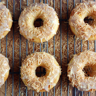 Peach Doughnuts + White Chocolate-coconut Glaze