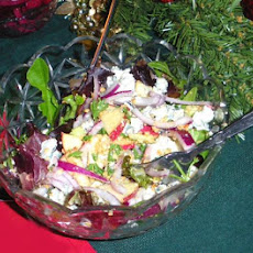 Salad With Apple, Celery, Hazelnuts and Roquefort Cheese
