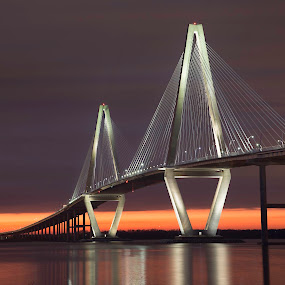 Ravenel Bridge by Bonnie Davidson - Buildings & Architecture Bridges & Suspended Structures ( canon 6d, reflection, charleston, sunset, ravenel bridge, bridge,  )