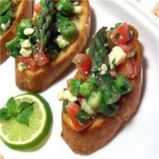 Asparagus and Stilton bruschetta