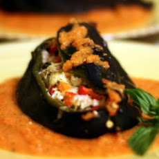 Cheese- and Shrimp-Stuffed Roasted Poblanos with Red Bell Pepper Sauce