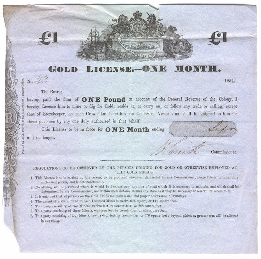 "The weekly reports from the goldfields gave the Lieutenant Governor important information regarding the estimated population of each district, and the revenue secured from licences, fines and gold deposits – but gave little information on the increasing tension that existed between miners and local officials. <a href=""http://www.eurekaballarat.com/media/209212/eureka_timeline.pdf"">Click here to see a timeline of key events leading to the final conflict</a>.  This sample gold license shows the stringent conditions to be observed by miners on the goldfields. <a href=""http://wiki.prov.vic.gov.au/index.php/Eureka_Stockade:Gold_License_No.43"">Click here to see a transcription of this record on our wiki.</a> All people on the goldfields were required to carry the license at all times."