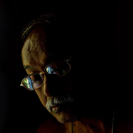 The Keen Reader by Arnab Bhattacharyya - People Portraits of Men