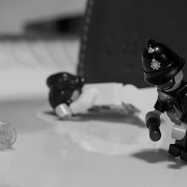 Crime Scene by Michael Strier - Artistic Objects Toys ( macro, black and white, toys, lego,  )