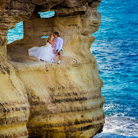 Seacaves by Radu Dumitrescu - Wedding Bride & Groom ( wedding, cliff, bride, groom, trash the dress, cyprus )
