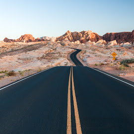 Road by Martina Havlickova - Landscapes Travel ( #nevada, #road, #sunset, #valleyoffire, #windingroad,  )