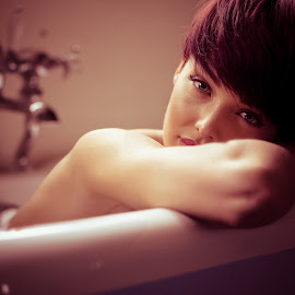 Relaxing Bath by Birmingham Fotography - People Portraits of Women ( vintage, female, relaxed, bath, relaxing )