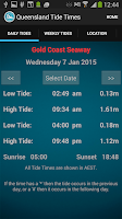 Screenshot of Queensland Tide Times