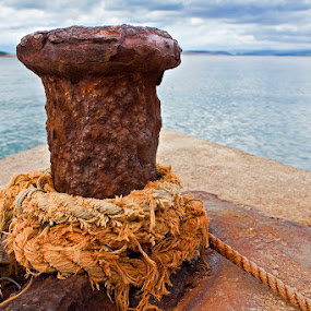 Distant Shore by Siniša Almaši - Artistic Objects Other Objects ( shore, up close, rope, nature, sea, iron,  )