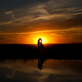Sunset love by Ryan Lindberg - Wedding Bride & Groom ( spokane wa. sunset )