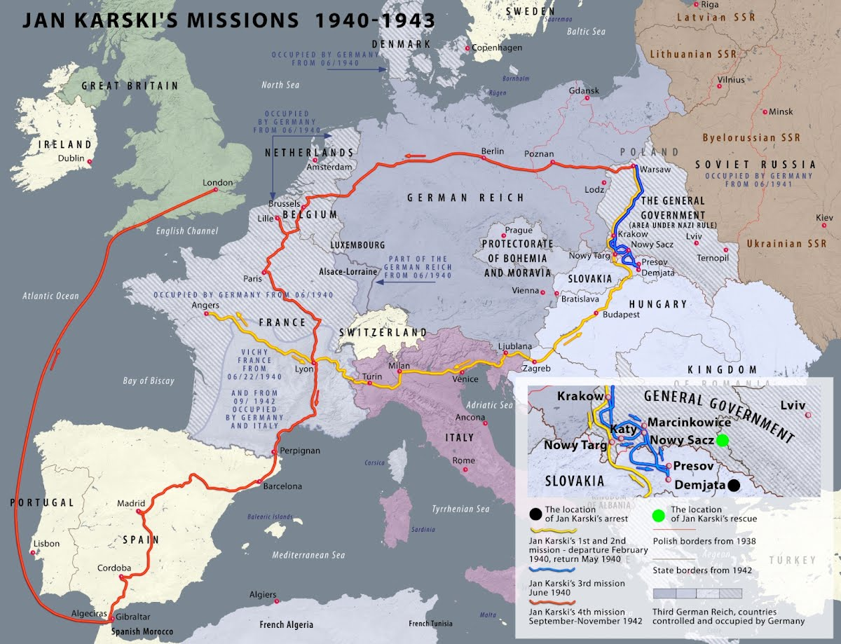 Using multiple false identities, means of transport and ingenuity, risking his own life, Karski undertook four missions as a Polish Underground courier: Missions No. 1 & 2. 1940 - yellow line Warsaw-Angers-Warsaw; Mission No. 3. 1940 - blue line Warsaw-Angers, aborted in Demjata, Slovakia; Mission No. 4. 1942 - red line Warsaw-London via Brussels, Paris, Perpignan, Barcelona, Madrid, Gibraltar.